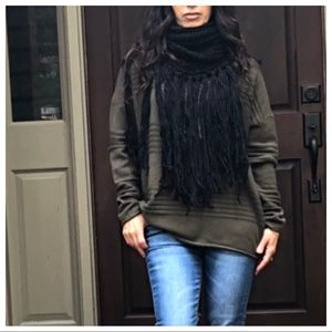 Accessories - Black long fringe knit cowl scarf